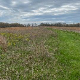 Hiking across the open fields