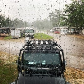 View from front of RV to roads
