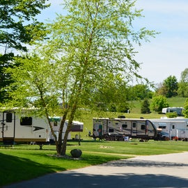 Roads in the park are paved and wide to accommodate traffic and RVs.