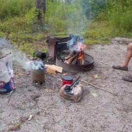 Our 1st campfire cooking dinner