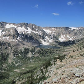 Top of Paintbrush Divide looking down to Lake Solitude.