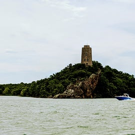 Iconic Tucker Tower from the boat ramp area of Buzzards Roost Campground.