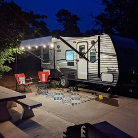 Nice wide concrete pads with concrete tables and grills are all throughout the RV area of Buzzards Roost Campground.