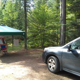 We ended up with 2 big tents, the canopy, and a covered hammock at our site with plenty of room to spare.