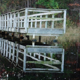 This is one of many fishing piers around the lake.
