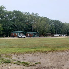 Disc golf; camping cabins in the back