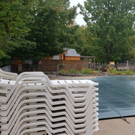 The pool was covered for autumn