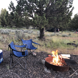 Evening fire at the campsite