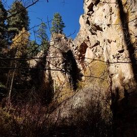 Box canyon and waterfall