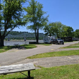 View of camp sites and Ohio River