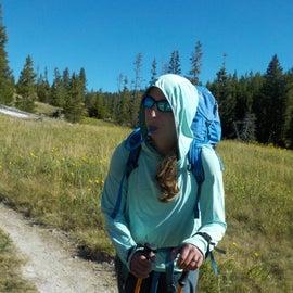 Hiking through open grasses