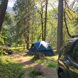 Tent site from our parking spot.