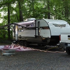 RV sites are mostly back-in sites.  A few are pull through.