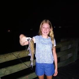 Night fishing on the pier.