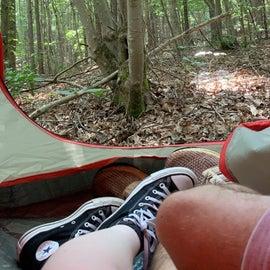 A relaxing camping trip.