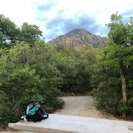 Campsite 10 has a raised gravel tent pad.