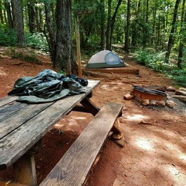 Campsite 4 has just the basics--fire pit, picnic table, lantern pole, and tent pad.