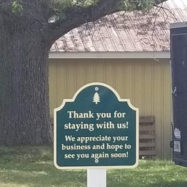 Cute signs throughout the park that make you feel welcome.