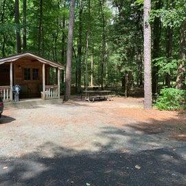Cabins in both loops. Near bath house.