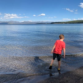 Playing in Yellowstone Lake by the campground