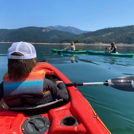 Rented a tandem and two singles from the KOA - they brought them down to the lake for us