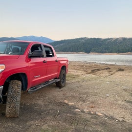 drove right out to the shore in the truck to hang out by the water