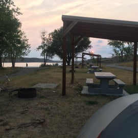 sunset over the lake - check out those fancy structures over the picnic tables!