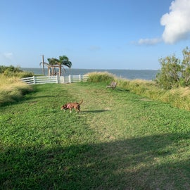 Dog run - there are no gates or fences along the side. If you have a dog who's willing to run and swim, check it out before unleashing the pup.