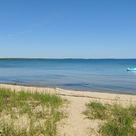 Walk in to Lake Huron from camp