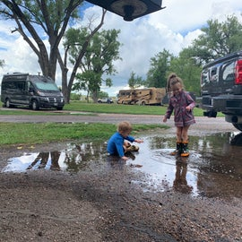 Rain puddle fun. You can see the spacing between sites on the road.