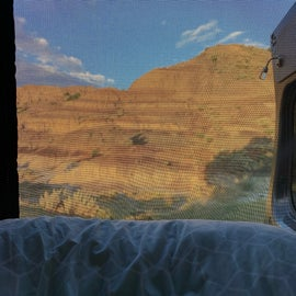 Morning sunrise view from our van.