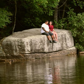 """""""The Rock"""" as we call it. I have pictures of all 5 of my kids on this rock from when they were little till now with their kids (my grand children)."""