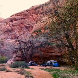 Our campsite at the foot of the cliffs.