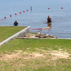 Safety first! Marking out a safe area for our scouts to swim.