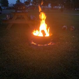 First night campfire