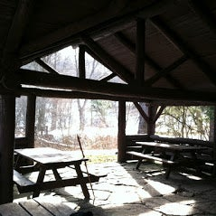 Twin Lakes picnic pavilion in winter.
