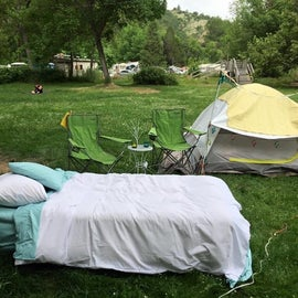 Pulled my queen mattress outside and had my coffee and breakfast in bed while working on my tan. Jackson wellsprings Ashland, OR