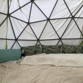 Pulled a small geodesic dome into my camp and decorated it at Jackson Wellsprings, Ashland OR