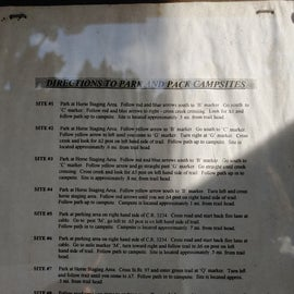 Nice brief description of each campsite.  Watch out for the campsite description of number 4 as that one led us astray.