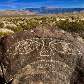 Famous face petroglyph, Jornada Mogollon people, on main trail.
