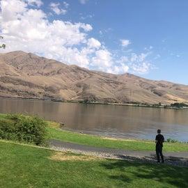 View towards lake and walking path