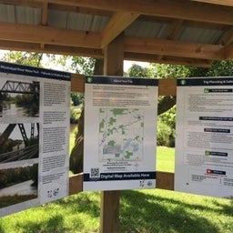 Info kiosk about area hsitory and the river trail