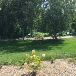 View of campsite from the gardens on the north side, looking towards bike path and river  beyond