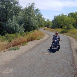 My son on the way to one of the fishing ponds (there are three).