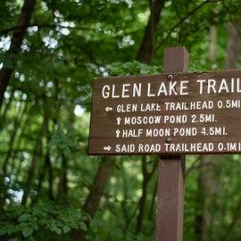 Glen Lake Trail sign