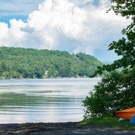 Kayaks near the shore of Lake Bomoseen