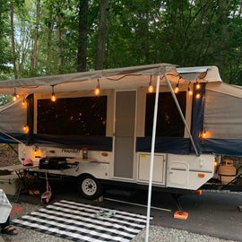 RV sites have a blacktop pad that allows for easy leveling and stabilizing of any RV or camper. Some sites are stoned out such as this one, most have some trees and grass.