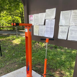 These repair stations are commonplace on the Great Allegheny Passage Trail (GAP) across PA, so it was exciting to see one here. Hoping they'll find their way all along the trail. Multiple necessary tools and a tire pump. You hang your bike on the upper arms while you work.