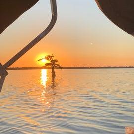 Sunset on pontoon cruise