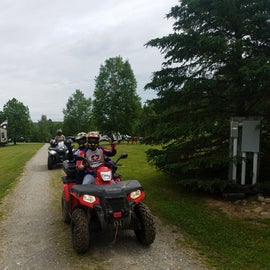 Heading out of the campground on our ATVs